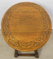 SOLD - Small Carved Oak Dropleaf Coffee Table